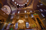 Qiblah wall of New Mosque Istanbul interior with Minbar and mihrab