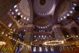 Vaulted ceiling Minbar shoe rack and Dikka in the empty musallah prayer hall of the empty New Mosque Istanbul
