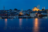 Beyazit tower Rustem Pasha and Suleymaniye Mosques at dawn on the Golden Horn Istanbul
