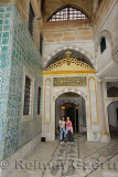 Two young female tourists at the Main Harem entrance Topkapi Palace Istanbul