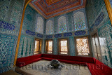 Twin pavilion apartments of the Crown Prince with sofa and Iznik tiles in the Topkapi Palace Harem Istanbul