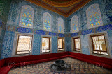Twin Kiosk Apartments of the Crown Prince with sofa and Iznik tiles in the Topkapi Palace Harem Istanbul