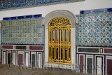Window and tiles outside the Pavilion of the Blessed Mantle Topkapi Palace Istanbul