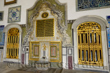 Gilded window and fountain outside the Pavilion of the Blessed Mantle Topkapi Palace Istanbul