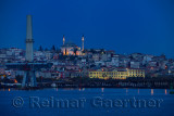Yavuz Selim Mosque Istanbul at dawn with construction to replace Ataturk Bridge over the Golden Horn