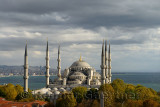 Windy afternoon in Sultanahmet with Blue Mosque on the Bosphorus Istanbul Turkey