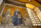 Mosaic on upper level of Hagia Sophia of Christ with Constantine Monomachus and Empress Zoe with offerings