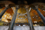 Marble pillars on upper level of the Hagia Sophia Istanbul with domes and calligraphy Roundels