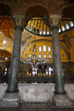 Marble pillars on upper level of the Hagia Sophia Istanbul with domes and Saraphim