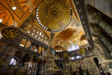 Golden domes frescoes and six winged Saraphim in the Hagia Sophia with chandeliers