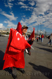 Turkish flag seller in the square between Yeni Camii New Mosque and Egyptian Spice Bazaar Istanbul
