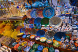 Painted ceramic display in the Egyptian Bazaar Istanbul next to a spice shop