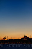Red glow and blue sky after sunset over Blue Mosque and Hagia Sophia Istanbul