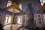 Privy Chamber of Sultan Murat III with beds and fireplace in the Topkapi Palace Harem Istanbul