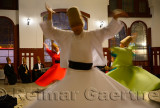 Whirling Dervish Sema Ceremony with musicians and women dancers Istanbul