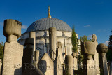Sun on grave stones and Mausoleum in the Ottoman cemetery at Eyup Sultan Mosque Istanbul