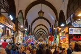Crowd of tourists in the indoor Egyptian Spice Bazaar Istanbul Turkey