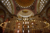 Interior of Suleymaniye Mosque with Qiblah wall chandelier and ceiling dome Istanbul Turkey