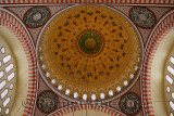 Intricate decoration of ceiling dome of Suleymaniye Mosque Istanbul Turkey