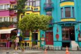 Colorful houses and restaurants on Yerebatan street in Sultanahmet Istanbul Turkey