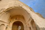 Ancient Church with frescoes carved out of volcanic tuff in the Red Valley Cappadocia Turkey
