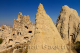 Fairy Chimney caves at Goreme Valley Open Air Museum Turkey with Nunnery and Buckle Church