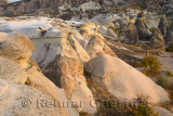 Smoothed volcanic tuff and Fairy Chimneys at Pasabag Monks Valley at sunset Cappadocia Turkey