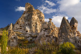 Ancient Uchisar Castle houses tunnels and pigeon roosts carved out of volcanic tuff Cappadocia Turkey