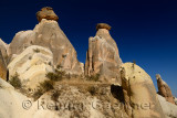 Fairy Chimneys with sphynx on the left with blue sky west of Urgup Turkey