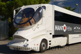 Futuristic expandable KYK training tractor trailer at station in Aspendos Turkey
