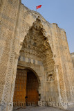 Eastern ornamental marble gate entrance or pishtaq of ancient Sultanhani Caravanserai Aksaray Turkey