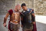 Roman Gladiators glowering before sword fight on stage at Aspendos theatre Turkey