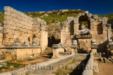 Nymphaeum monument building with fountain statue of River god Kestros at Perge archaeological site Turkey