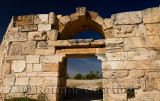 South west gate of Roman city wall with carved stone lion relief at Hierapolis Turkey