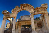 Ornate stone archway of the Temple of Hadrian in the ancient city of Ephesus Turkey
