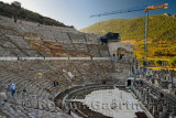 Reconstruction work at the ancient Ephesus grand theatre on Mount Panayir with Mount Babul in sun