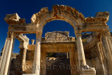 Ornate stone carving facade of the Temple of Hadrian with Tyche Goddess of the city of Ephesus Turkey