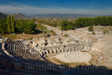 Ancient Ephesus theatre and gymnasium with Arcadian Way street to the now silted harbour Turkey