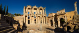 Panorama of the ruins of Library of Celsus and gate to the Agora of ancient Ephesus Turkey
