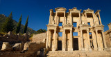Panorama of ruins of the facade of the Library of Celsus with moon in blue sky at ancient city of Ephesus Turkey