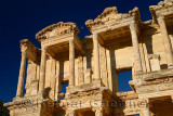 Detail of top of facade of the Library and Mausoleum of Celsus with moon at ancient city of Ephesus Turkey