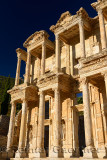 Morning sun on ornate facade of the Library and Mausoleum of Celsus at ancient city of Ephesus Turkey