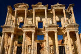 Morning sun on the two story ruins of the facade of the Roman Library of Celsus in ancient Ephesus Turkey