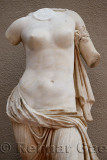 Ruined marble statue of Venus or Aphrodite naked torso at Ephesus Museum Turkey