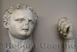 Ruined sculpture of head and hand of Roman Emperor Domitian at Ephesus Museum Turkey