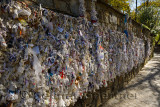 Wishing wall with tied note petitions to the Virgin Mary at her restored house near Ephesus Turkey