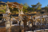Ruins of the fountain of Emperor Trajan on Curetes street of ancient Ephesus Turkey