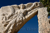 Sculpture relief from the door of Heracles of Winged Nike the Goddess of victory at ancient Ephesus ruins Turkey