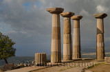 Doric column ruins of the temple of Athena with west view of Aegean Sea coast at Assos Behramkale Turkey
