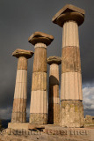 Four Doric columns at the acropolis ruins of the temple of Athena at Assos Behramkale Turkey